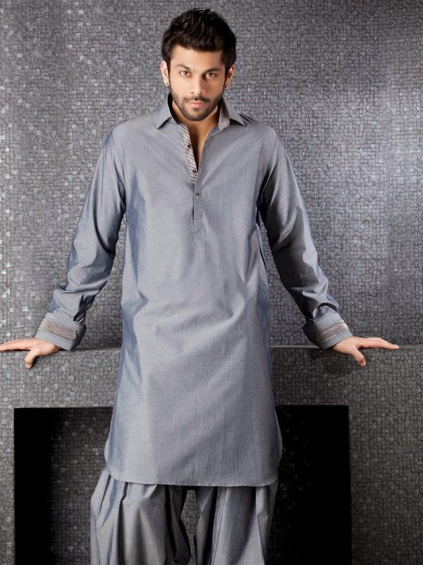 grey kurta pyjama for men