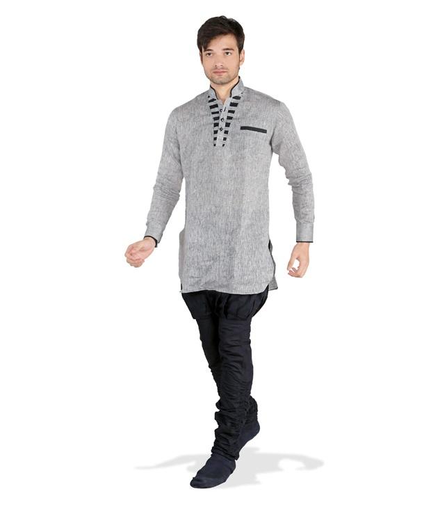 grey short kurta pyjama