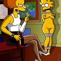 Domina Ms. Krabappel severely punishes Lisa