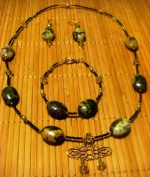 Green Turquoise, green pearl, and citrine ensemble
