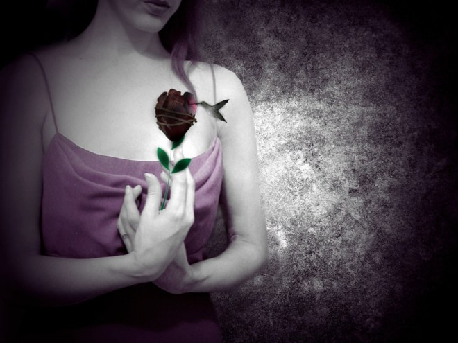 lonely-woman-and-rose