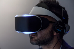 Sony Project Morpheus virtual reality goggles.