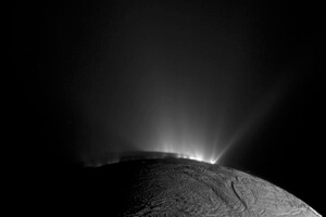 Geysers thought to originate in a subsurface sea erupt into space on Saturn's moon Enceladus.