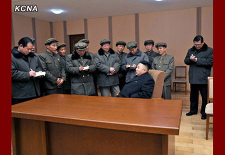 Kim Jong Un at Sohae Space Center, 12 December 2012 | Image courtesy KCNA, via North Korea Leadership Watch