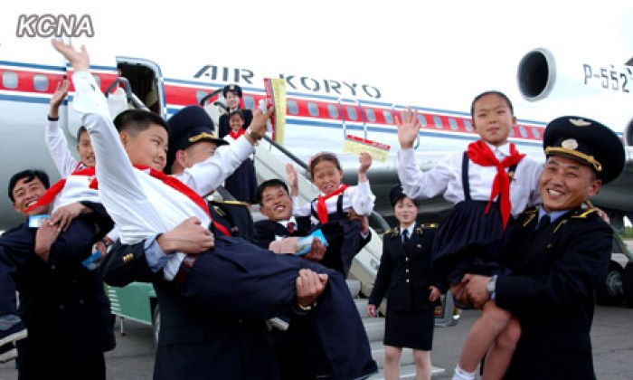 Korean Children's Union delegates arrive for the 2012 rally | Source: KCNA