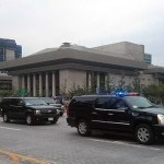 Xi Jinping's motorcade, making its way through Gwanghwamun Plaza, Seoul | Image: Jennifer McCane