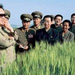 """Kim Jong-il, performing """"On the Spot Guidance"""" in the high grass. 