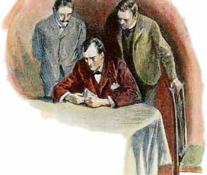 HOLMES EXAMINED IT IN HIS MINUTE WAY.