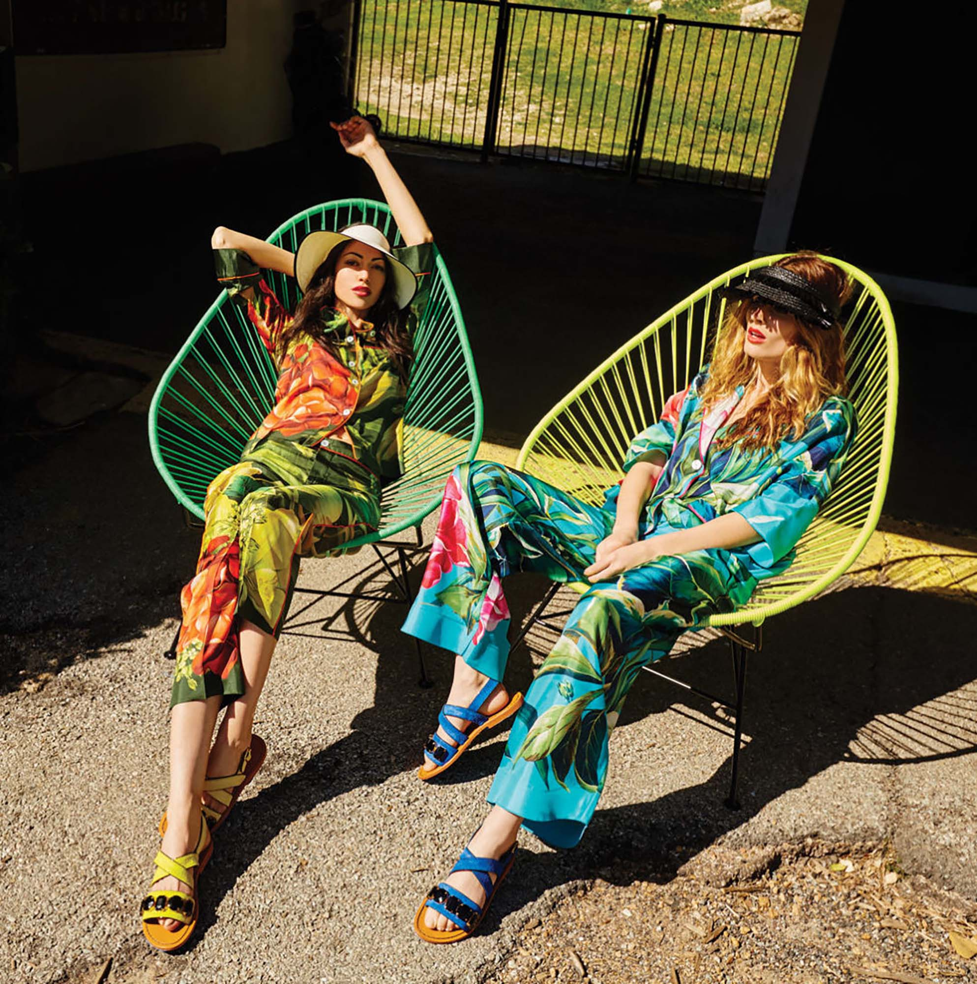 Brittany Winter styles two girls in hawaiian pant suits