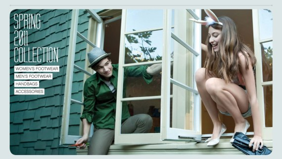 Guy and girl climbing out the window