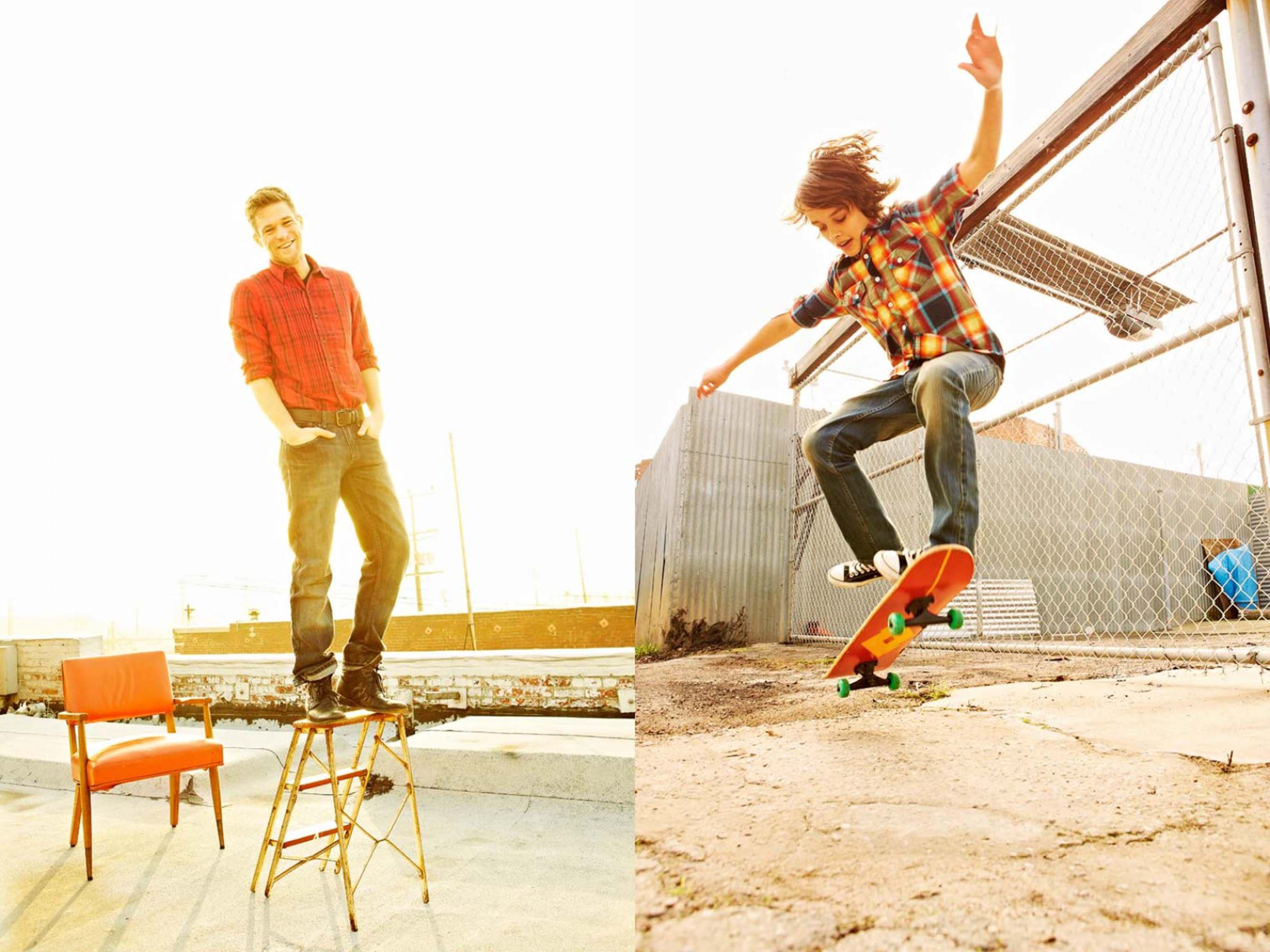 Man skateboarding and another man standing on a ladder