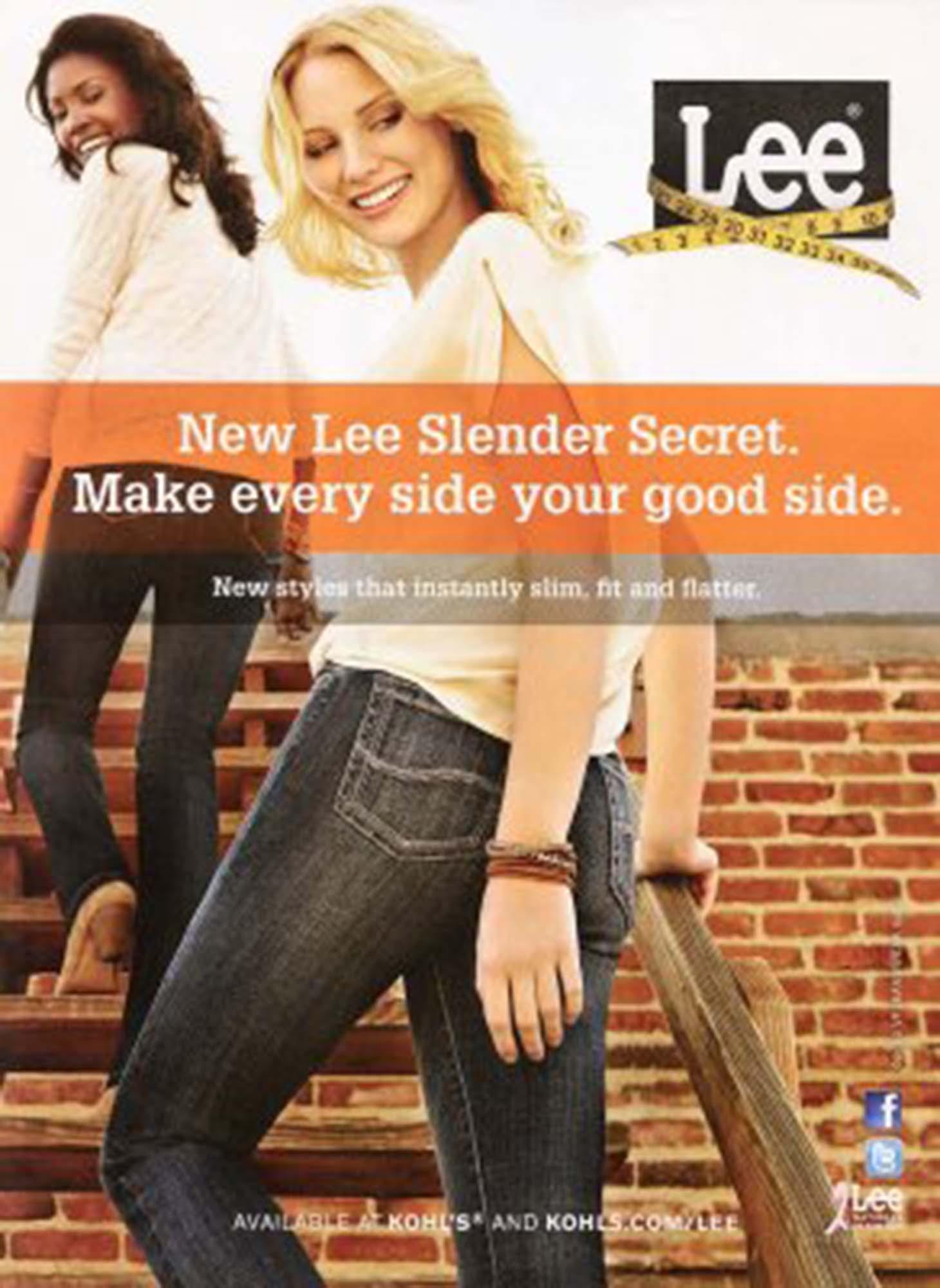 Woman wearing new slender Lee jeans