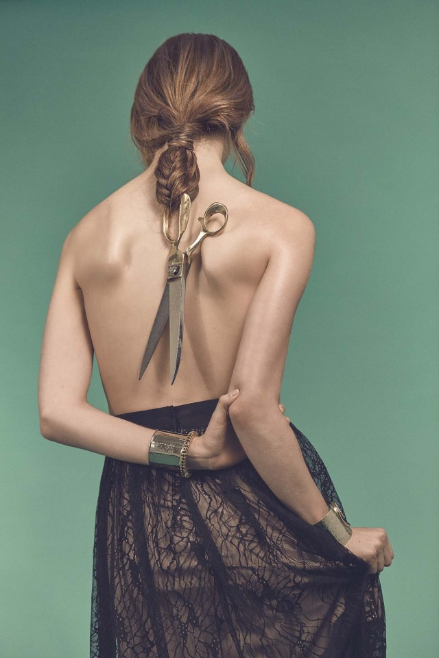 Woman With Scissors Braided in her Hair
