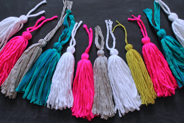 colored yarn tassels