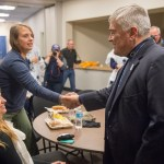Penn State President Eric Barron greets Morgen Hummel, mother of Army veteran and State College Area High School graduate Adam Hartswick. Military Appreciation Day, Penn State vs. Army, Oct. 3, 2015.