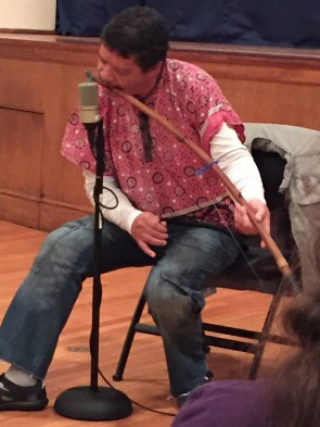 Garth playing his mouth bow during a performance at Nemours/A.I. duPont Hospital for Children.