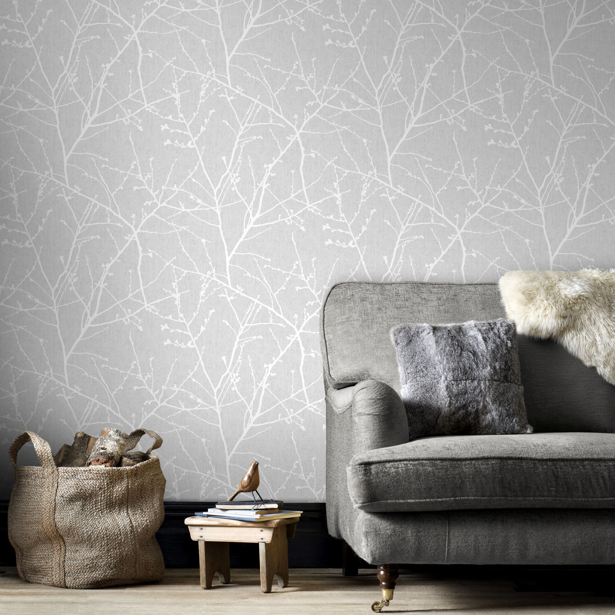 Innocence Grey Wallpaper | Grey Pattern Wallpaper | Graham & Brown