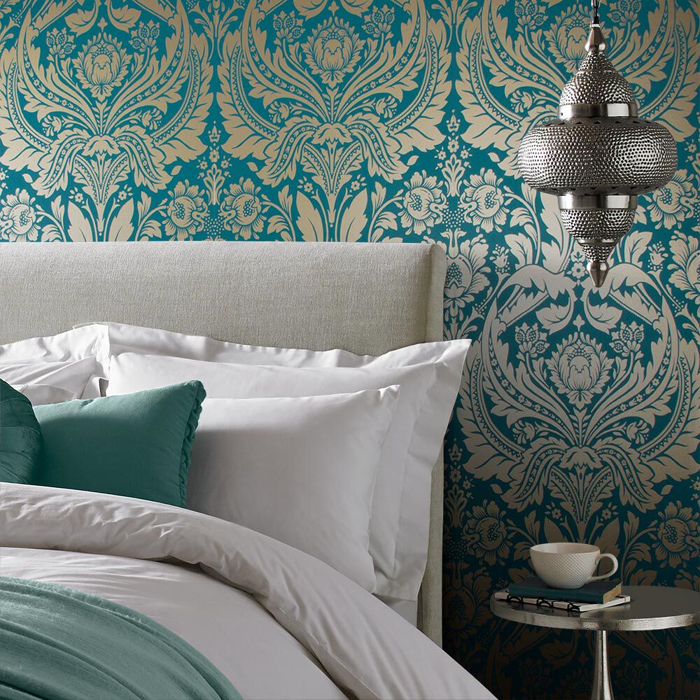 Desire Teal Gold Wallpaper - GrahamBrownUK