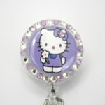 SIZZLE CITY Custom Retractable ID Badge Reels: Light Purple Flower Power Hello Kitty