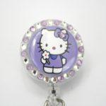 SIZZLE CITY Custom Retractable ID Badge Reels: Light Purple Flower Power Hello Kitty