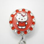 SIZZLE CITY Custom Retractable ID Badge Reels: Bright Red Hello Kitty