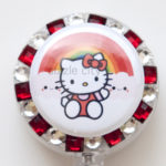 SIZZLE CITY Custom Retractable ID Badge Reels: Hello Kitty Rainbow Smiles