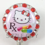 SIZZLE CITY Custom Rhinestone Retractable ID Badge Reels: Hello Kitty Pill RX