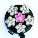 SIZZLE CITY Custom Retractable Rhinestone ID Badge Reels: 3D Pansy Flower Badge Reel