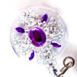 SIZZLE CITY Custom Rhinestone Retractable Purple Jeweled Bling DeMask ID Badge Reel