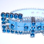 Thick Blue Leather Alligator Finish Rhinestone Dog Collar with Beaded Edging