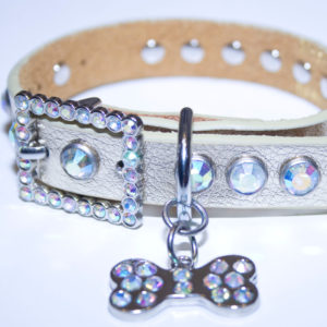 Gold Leather Bling Rhinestone Dog Collar with Bling Doggie Bone Charm