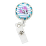 SIZZLE CITY Custom Bling Rhinestone Labor & Delivery RN Badge Reel Retractable ID Badge Holder