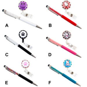 Custom Bling Badge Reel Retractable ID Badge Holder with Bling Stylus Pen Combo Set