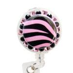 SIZZLE CITY Custom Bling Pink Rhinestone Zebra Print Badge Reel Retractable ID Badge Holder