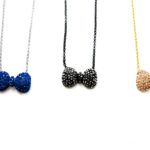 Custom Bling Colored Rhinestone Bow-Tie Necklaces with Matching Stud Earrings: Group Shot
