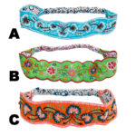 SIZZLE CITY Thick Custom Color Bohemian Pattern Embroidered Elastic Stretch Headbands: Group Shot