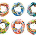 Custom Spring Color Floral Pattern Infinity Loop Scarves: Group Shot