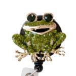 SIZZLE CITY Custom Green Bling Rhinestone Frog Badge Reel Retractable ID Badge Holder