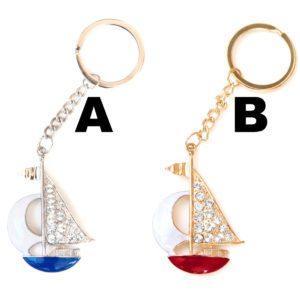Custom Colored Bling Rhinestone Sailboat Key Chain: Group Shot
