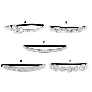 Thick Custom Pattern Shimmering Bling Crystal Bridal Rhinestone Elastic Headbands: Group Shot