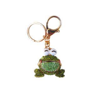 Bling Shimmering Green Rhinestone Frog Key Chain & Purse Charm