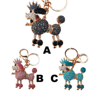 Bling Shimmering Rhinestone Poodle Key Chain & Purse Charm: Group Shot