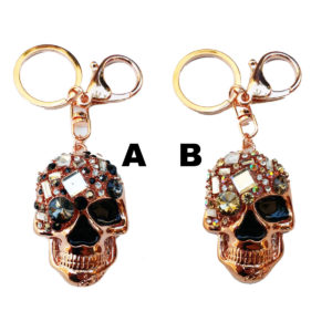 Gold Bling Shimmering Rhinestone Jeweled Skull Key Chain & Purse Charm: Group Shot