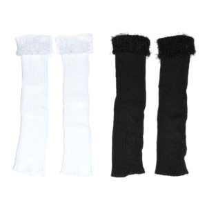 Womens Long Custom Patterned Knit Fluffy End Leg Warmers: Group Shot