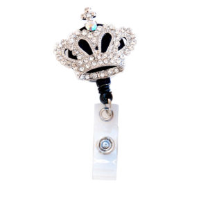 3D Bling Clear Rhinestone Crown Badge Reel Retractable ID Badge Holder