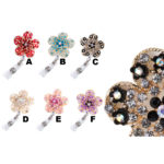 Sprinkled Bling Rhinestone Pedal Flower Badge Reel Retractable ID Badge Holder: Group Shot