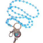 Love Blue Flowers Charm Locket ID Holder Turquoise Bead Lanyard Set