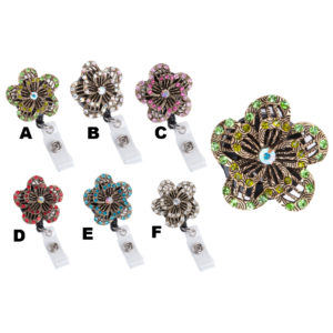 Raised Bling Rhinestone Pedal Flower Badge Reel Retractable ID Badge Holder: Group Shot