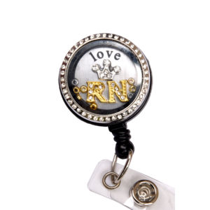 RN Love Crown Charm Locket Badge Reel Retractable ID Badge Holder