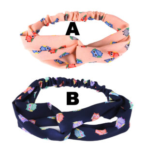 Women's Custom Colored Owl Pattern Printed Elastic Cloth Wrap Fabric Headbands: Group Shot